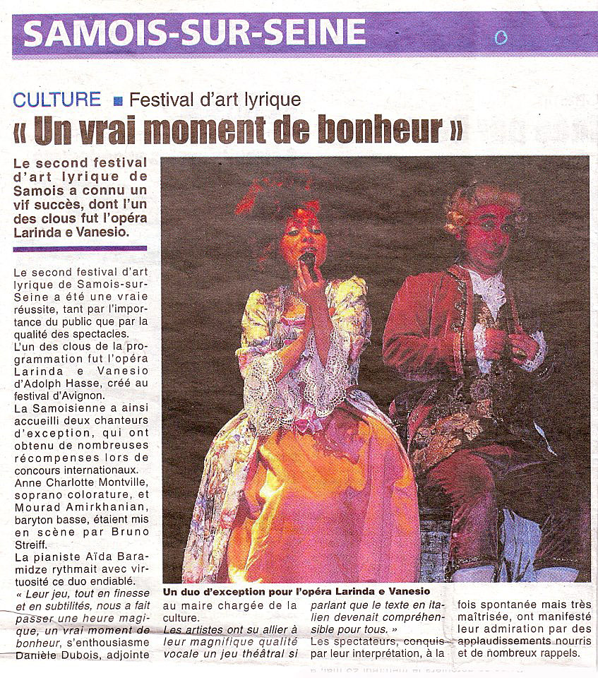 Anne-Charlotte Montville et Adam Barro -Larinda e Vanesio  – Hasse – Festival Samois-sur-Seine 2012 copie